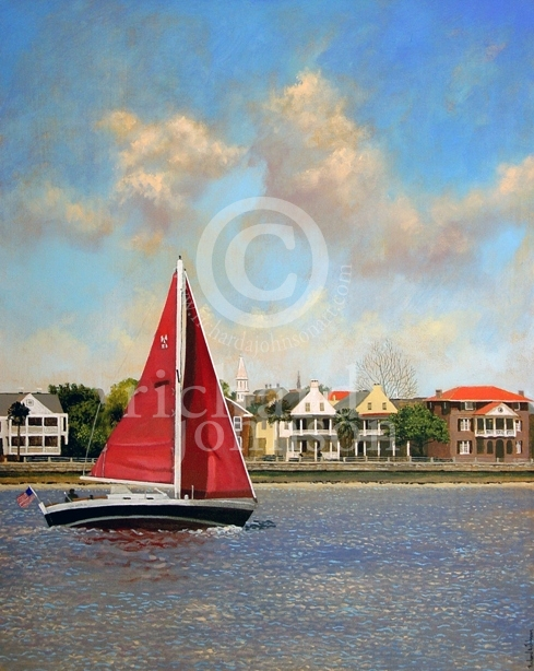 "Title: Red Sails - 24"" x 30"" - $2400.00 - Medium: Acrylic"
