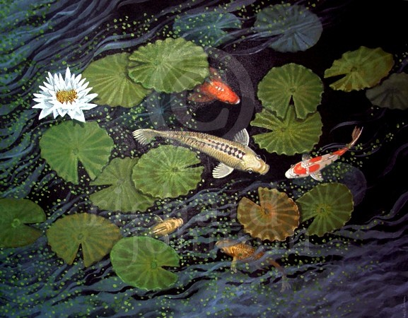 "Title: Duckweed Gang - 30""x24"" - $2200.00 - Medium: Acrylic"